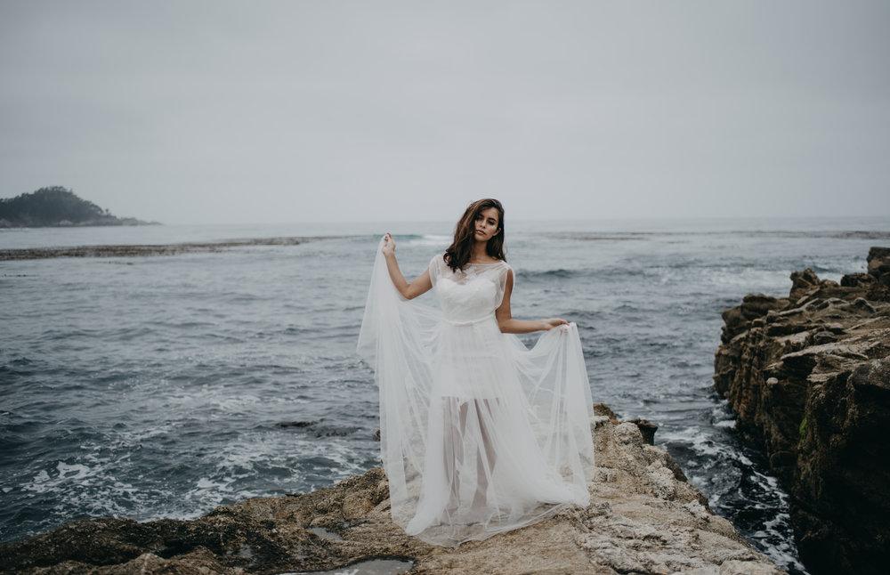 crashing waves beach wedding photoshoot lightweight summer wedding dress