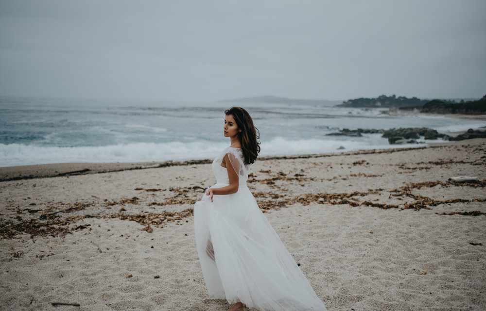 graceful unique wedding dress with two pieces