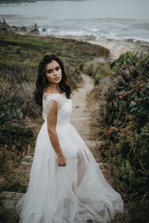 playful bride in gorgeous custom made wedding dress under $1000
