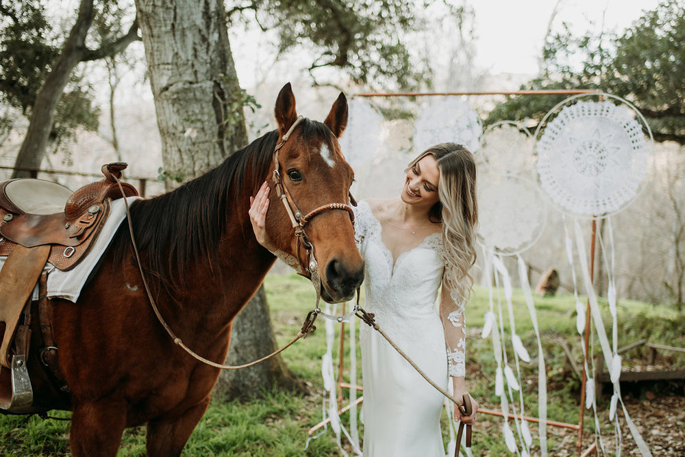 natural wedding makeup and hair boho wedding photo