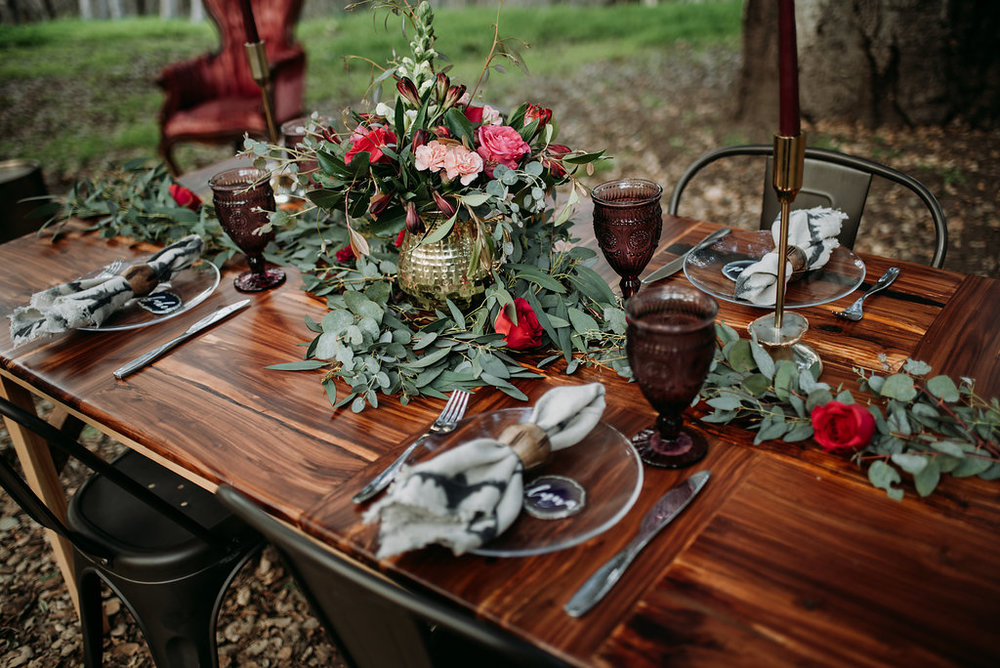 rustic outdoor boho wedding fantasy tableware and centerpieces