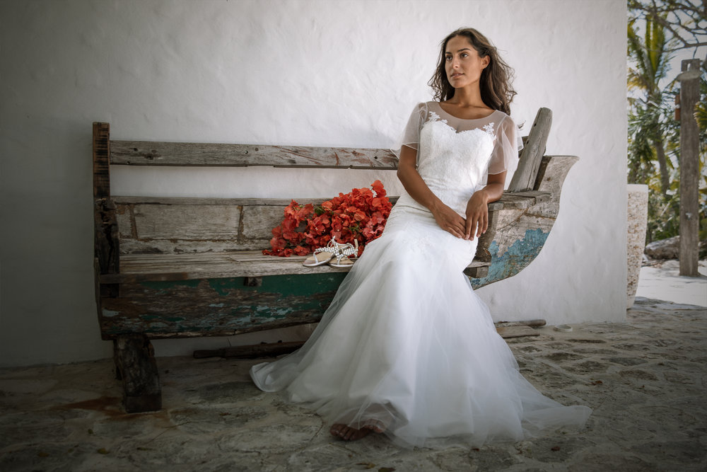 simple mermaid fit wedding dress with illusion sleeves summer wedding destination wedding