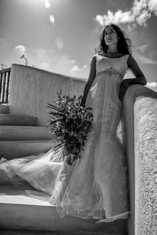 gorgeous bridal black and white photo empire waist embellished wedding dress