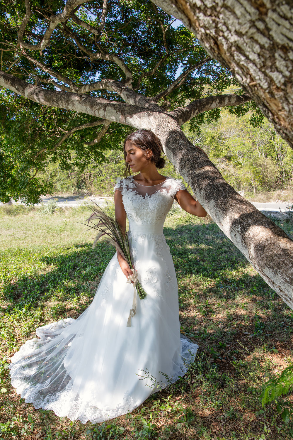 unique bouquet for natural outdoors summer wedding lace detail capped sleeves wedding dress under $1000