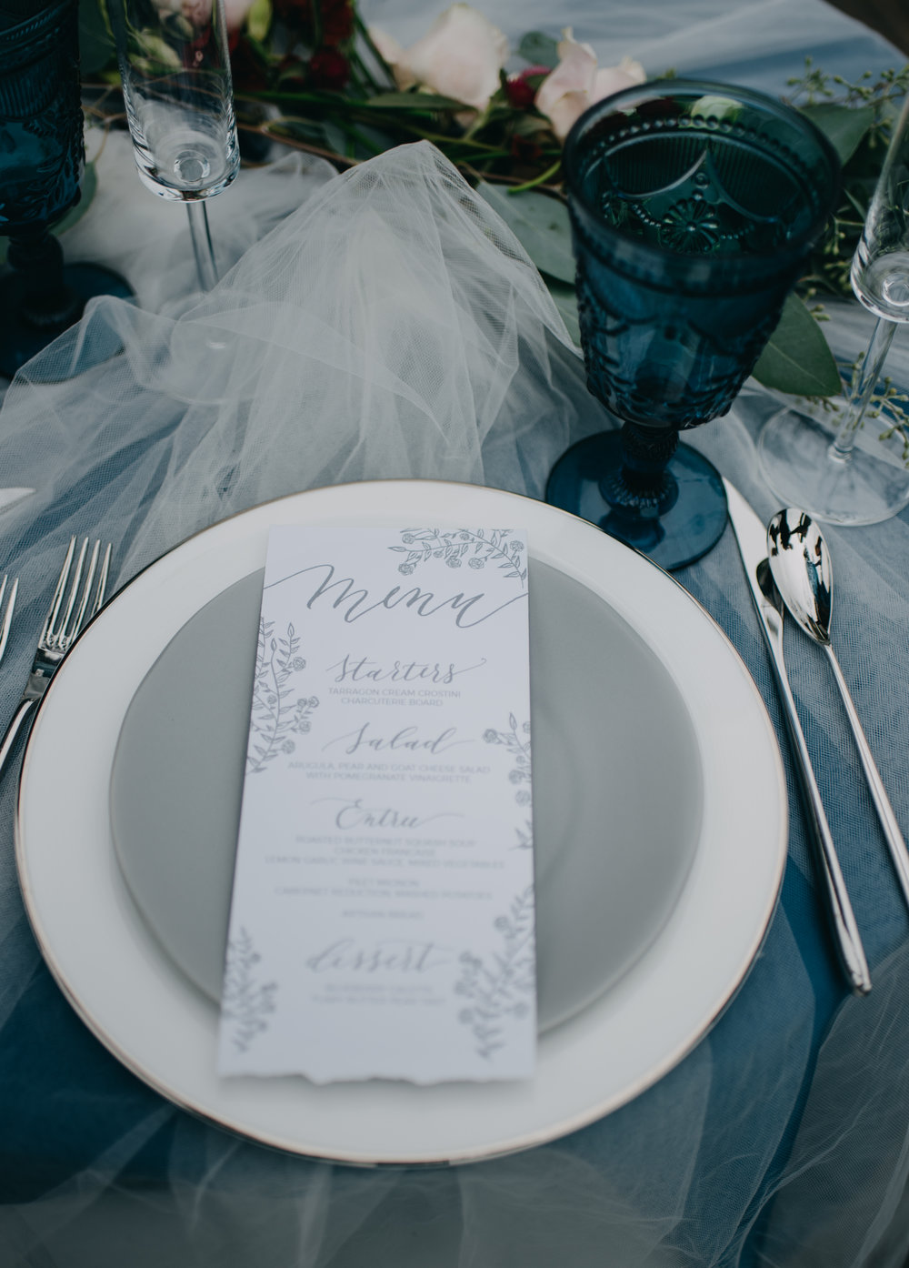 DIY wedding invitation and menu handwriting