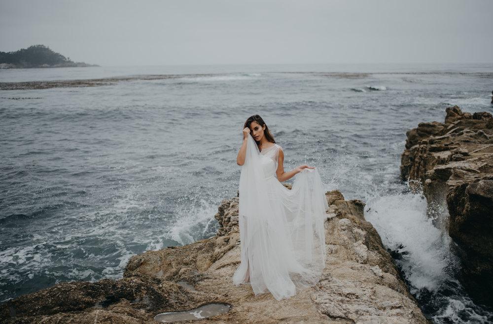 princess wedding dress photoshoot summer wedding crashing waves and cliffs