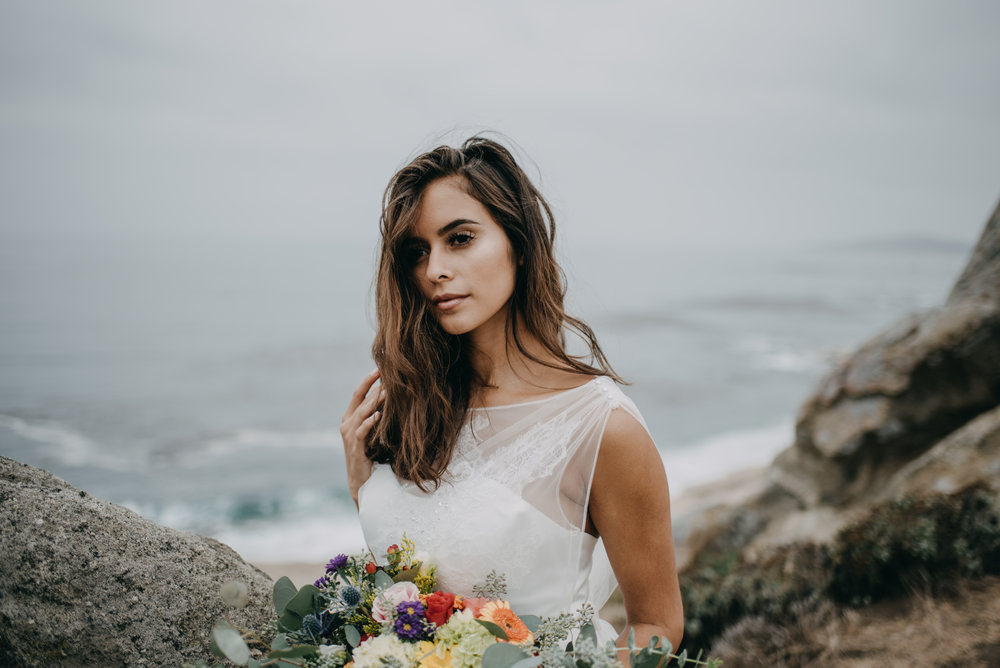 natural hair and makeup with comfortable casual wedding dress
