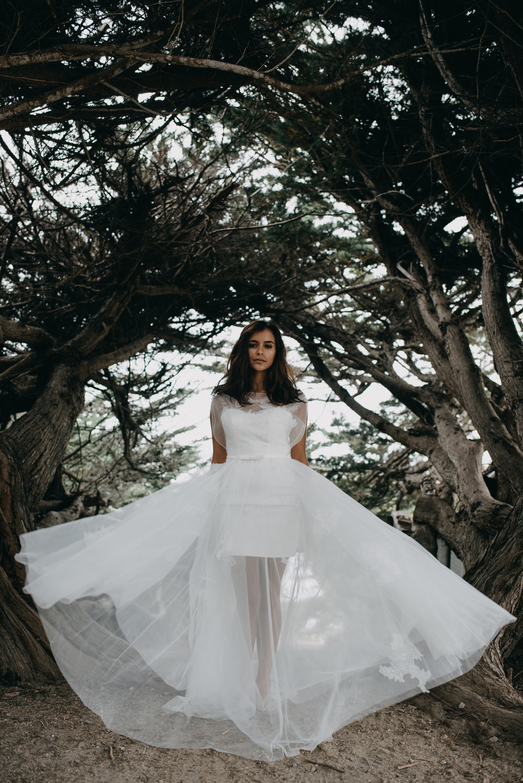 wedding dress flare photo short slip under long tulle layer