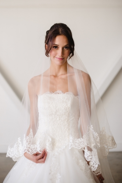 simple tube top wedding dress scallop lace wedding gown