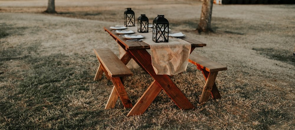 boho wedding tips rustic wooden picnic tables