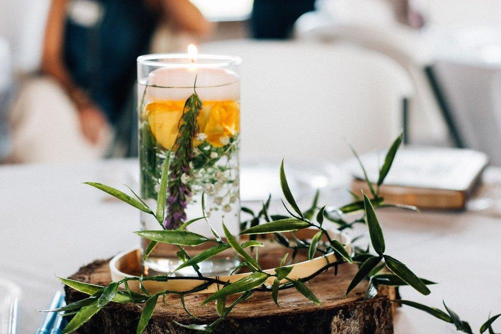 bohemian wedding DIY floral candle centerpieces
