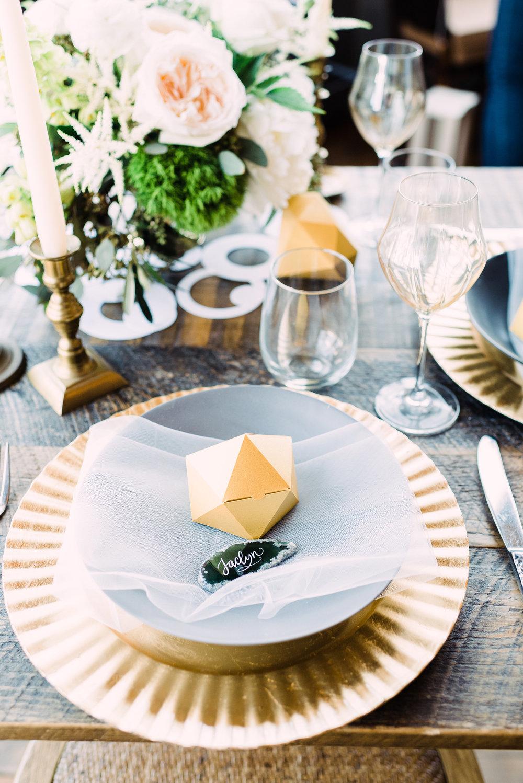 fun playful wedding table setting floral centerpiece DIY