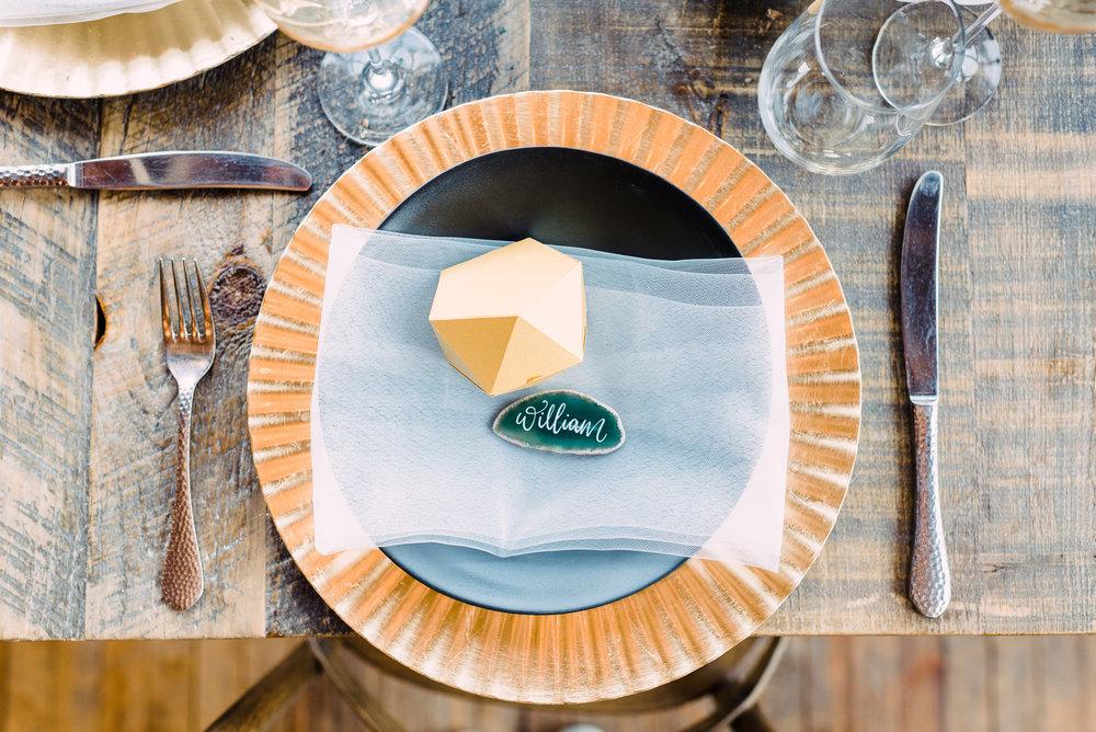 rustic simple fun wedding tableware