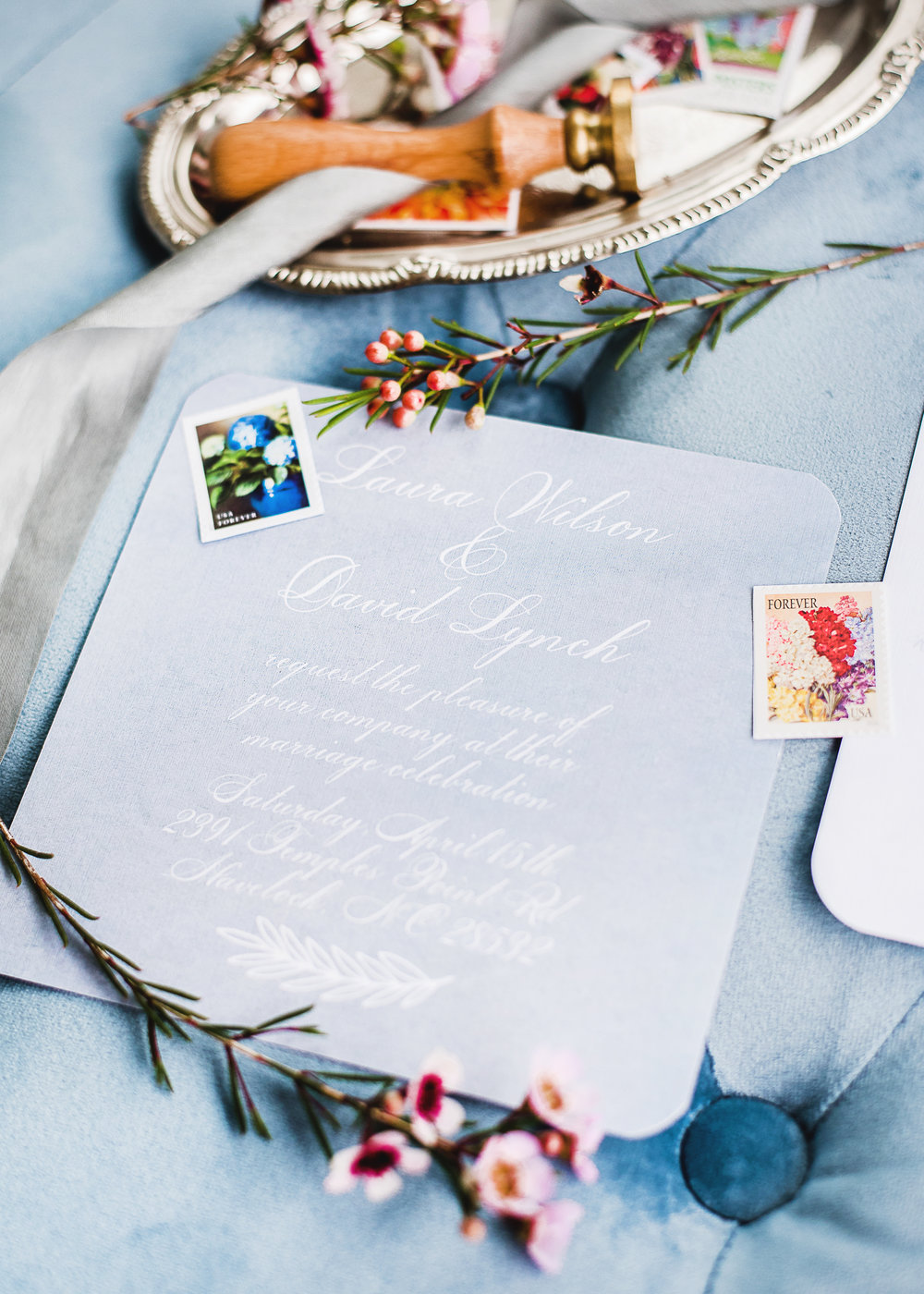 blue theme wedding invitation