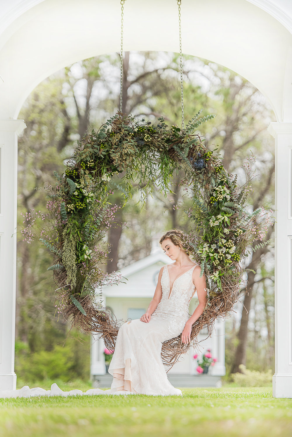 gorgeous bridal wedding photo outdoors simple modern wedding dress custom made wedding gown under $1000 dream wedding on a budget