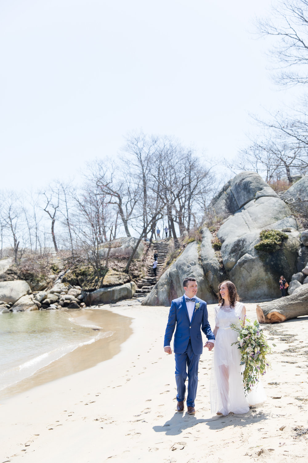 beach walk wedding photography
