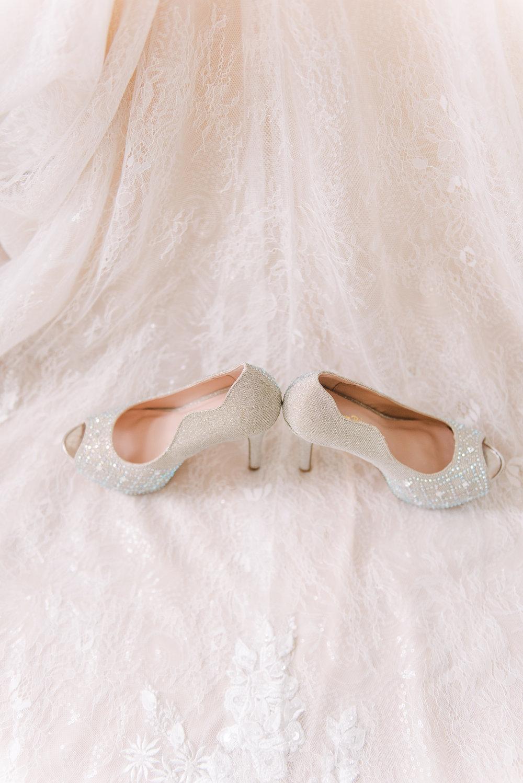 peach toned pink wedding dress
