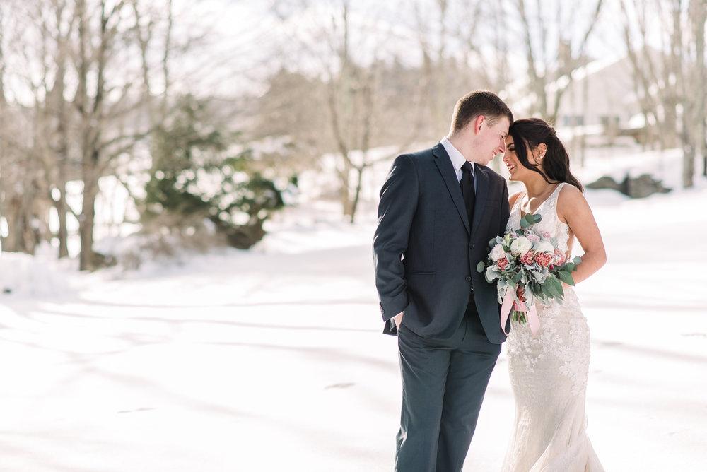 winter outdoors wedding couple photo