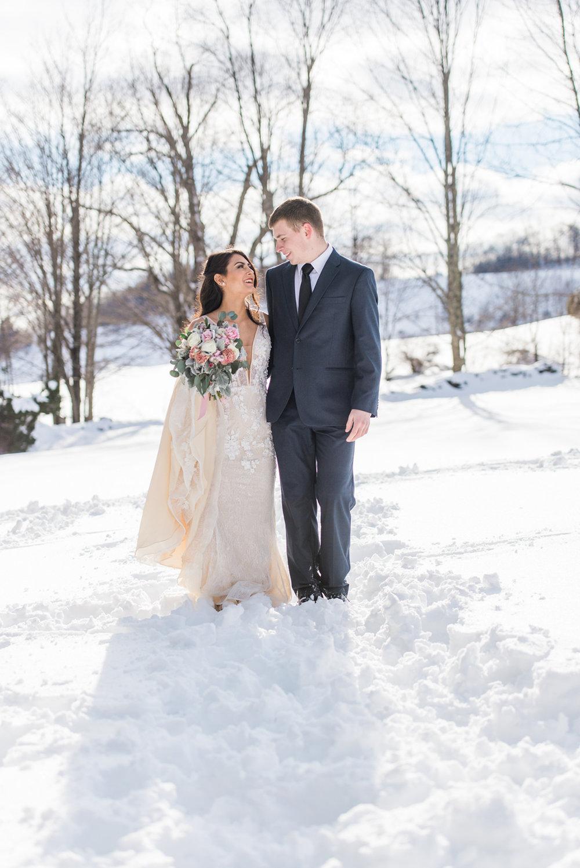 subtle peach tone wedding dress