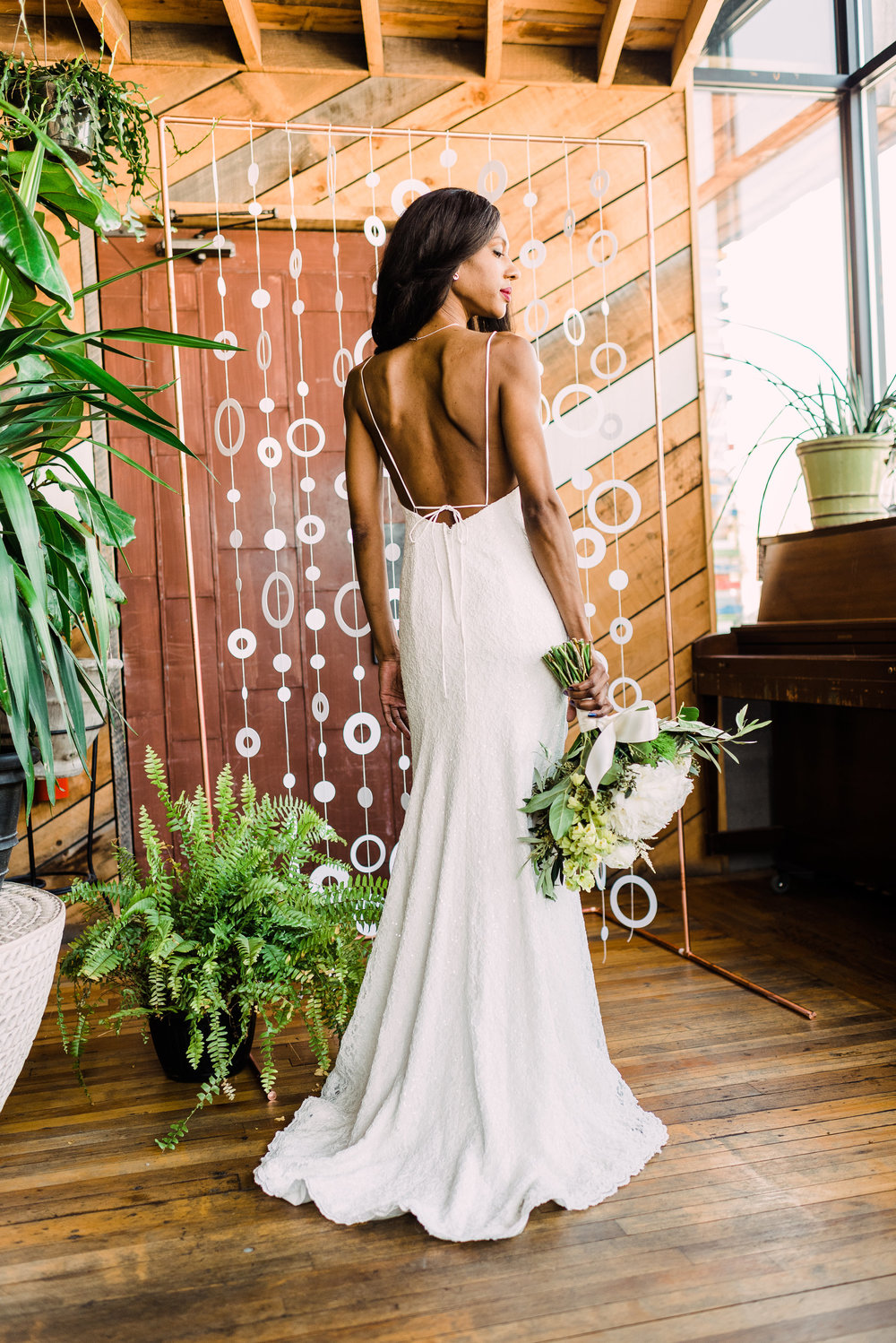 "Shanda's measurements are: Bust 34"" / Waist 25"" / Hip 36"" 