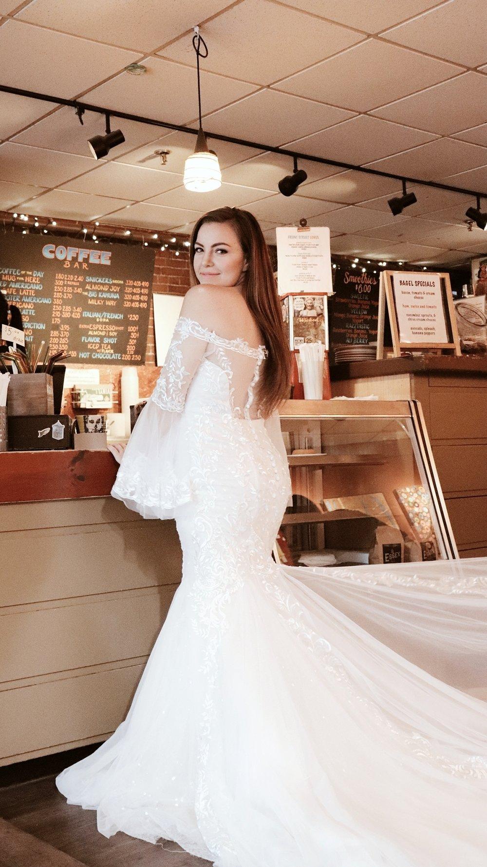 bride ordering coffee