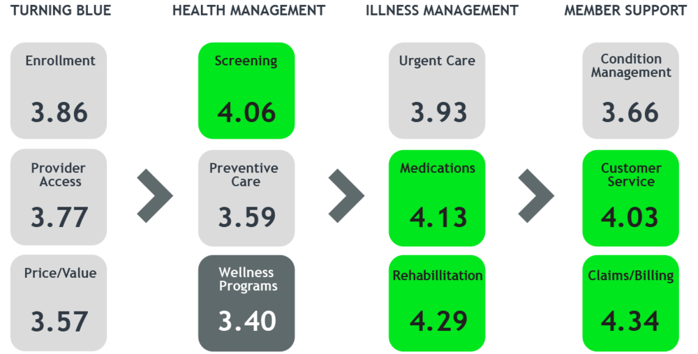 "Journey Analytics ""opens up"" and illustrates performance experience metrics across the entire customer journey. Here, screening is showing the highest customer satisfaction scores; wellness programs, the lowest."
