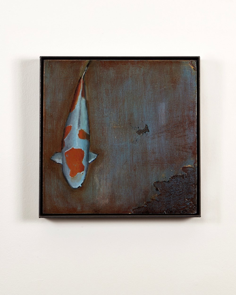 Craig Higgins oil on panel in welded steel floater frame