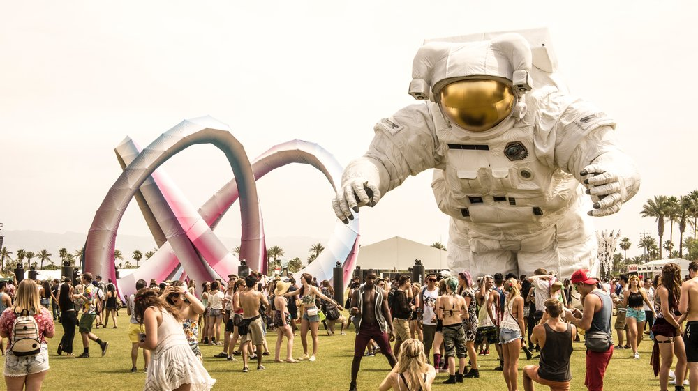 "The famous three-story-tall ""Coachella Astronaut"" art installation."