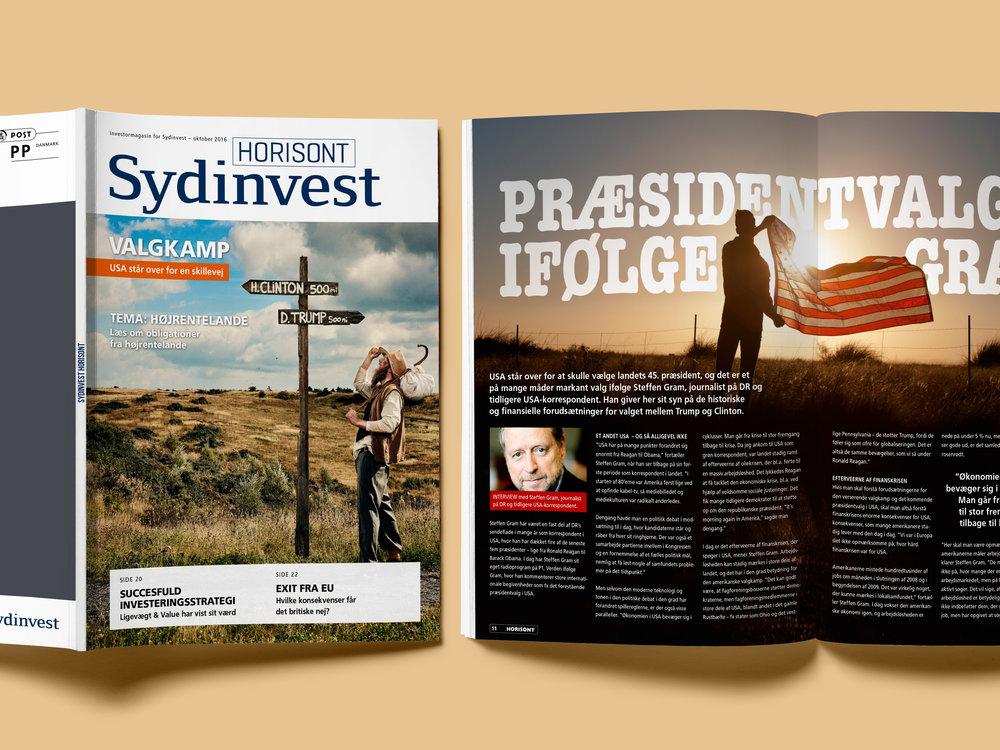 Interviews og redaktionelt indhold til investormagasinet HORISONT. Kunde: Sydinvest. Bureau: Markant.