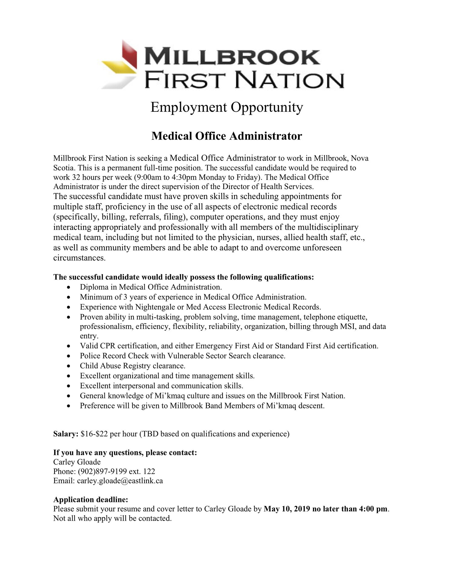 Employment Opportunity - Medical Office Administrator ...