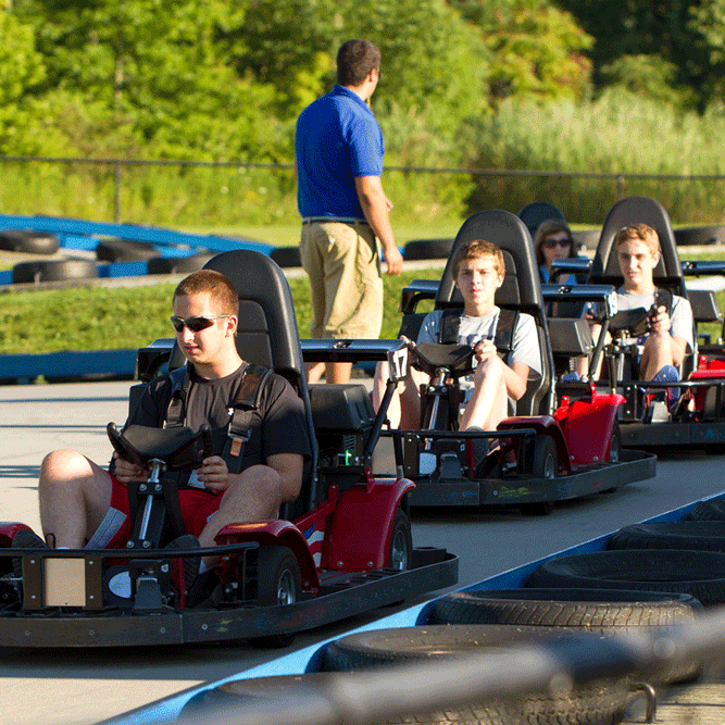Speed Zone Go Karts - Screaming Eagle Go Carts, with their open design, provide a sensation of speed and lots of thrills along an 850 feet of concrete track with hair pin turns and tight corners. Minimum 58