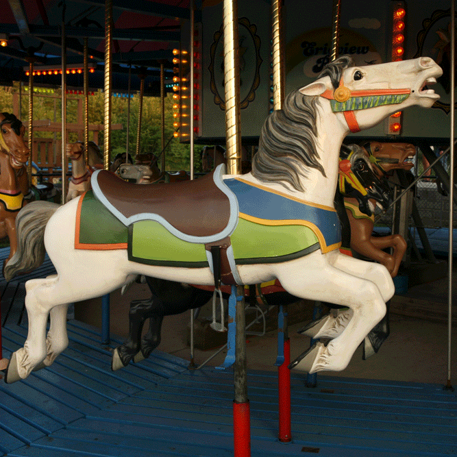 Merry-go-round - The classic restored 1957 Allen Herschell Carousel offers a nostalgic reminder of earlier times for those who rode it in their youth as well as a chance to share those memories with another generation. Adults must accompany minors under 44