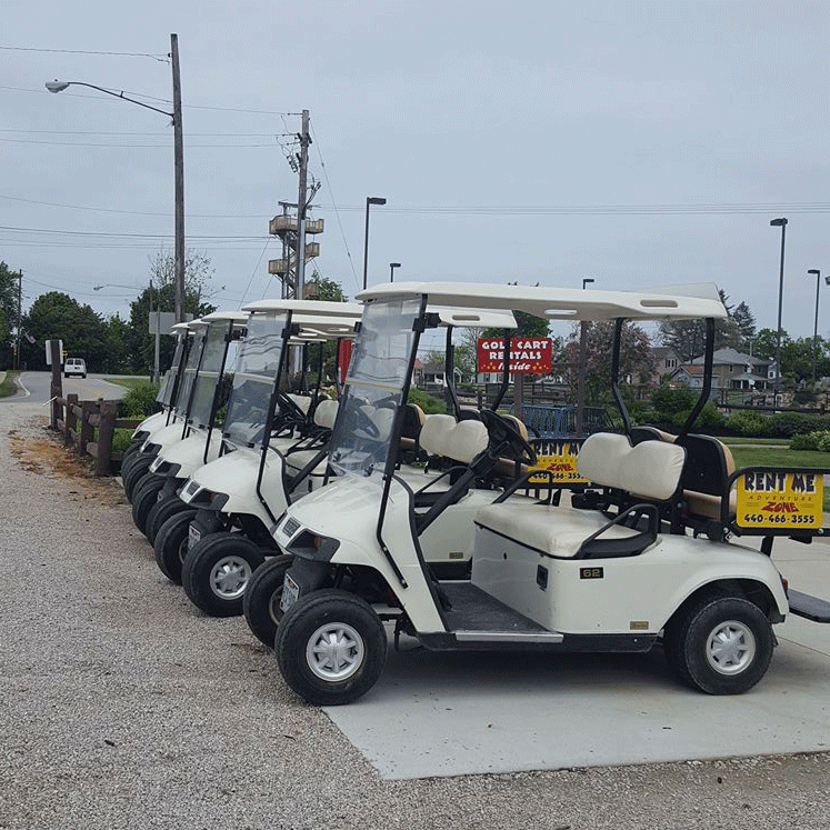 Golf Carts - Golf carts are available at the Zone and are FULLY LICENSED vehicles to provide quick and easy transportation in and among all of the Strip's attractions between the Lodge and Township park. Drivers and renters must be over 21, have a valid driver's license, and a CREDIT (not debit) card (or cash) for deposit. Rented by the hour or full day.Starts at $19 per hour.Visit pricing for more options!