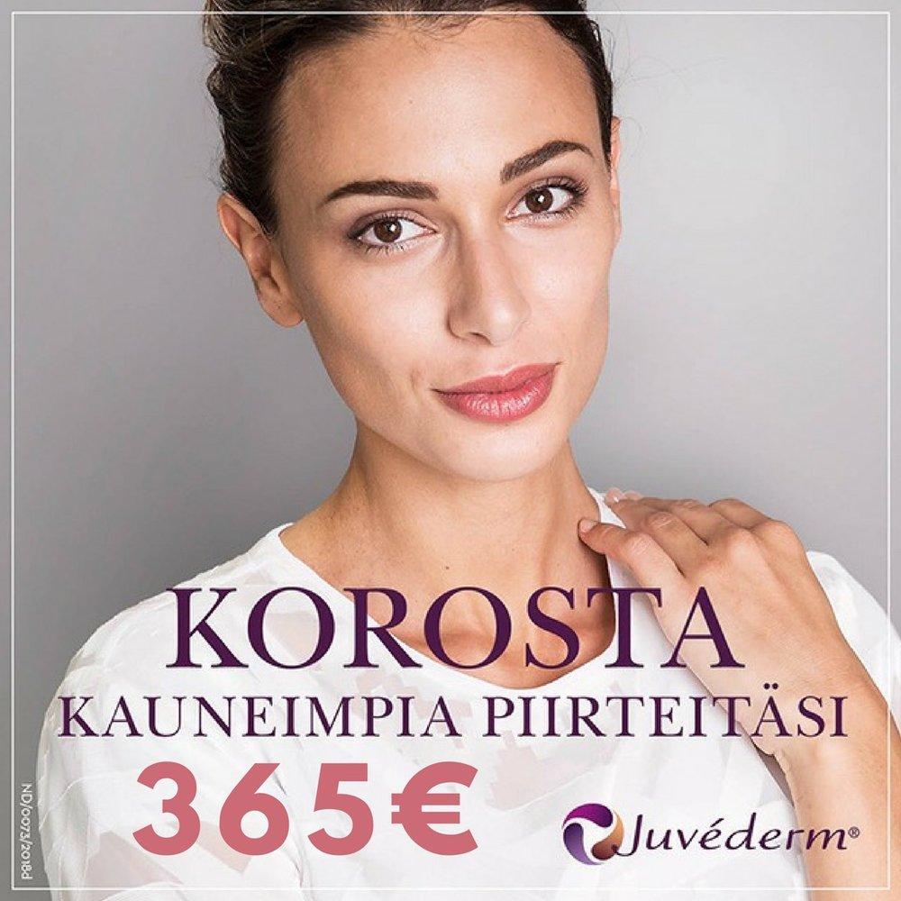 Elokuun tarjous!  Juvéderm Vycross -Volbella, Volift ja Voluma vain 365€/1ml (500€)  Tarjous voimassa vain Vaasan toimipisteellä 31.8.2018 asti. Ei voi yhdistää muihin tarjouksiin.