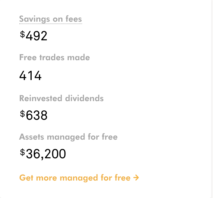 Here is a screenshot from my personal Wealthsimple account, updated April 17, 2018 - I've saved almost $500 in fees!