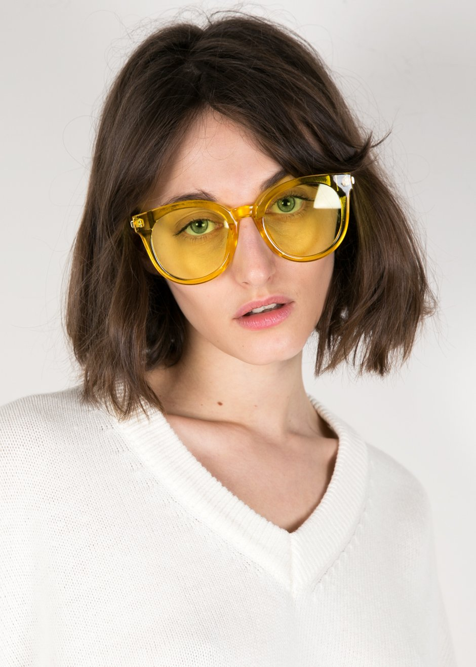 4b405ecff3c25 The Frankie Shop Clear Yellow Sunglasses ( 20.00) Available in One Size