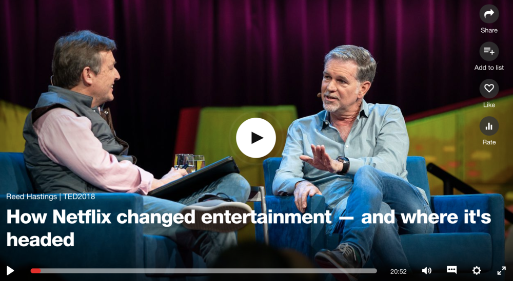 The following article is based on the Ted Talk called   How Netflix changed entertainment — and where     its     headed