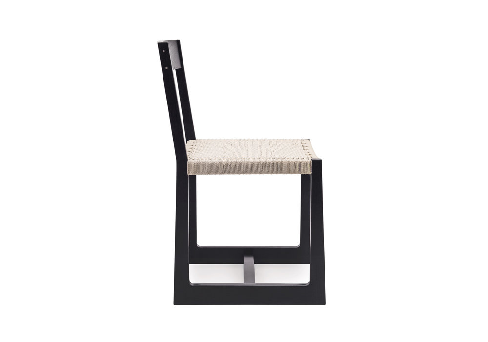 Matteawan chair in ebonized walnut and white Danish cord