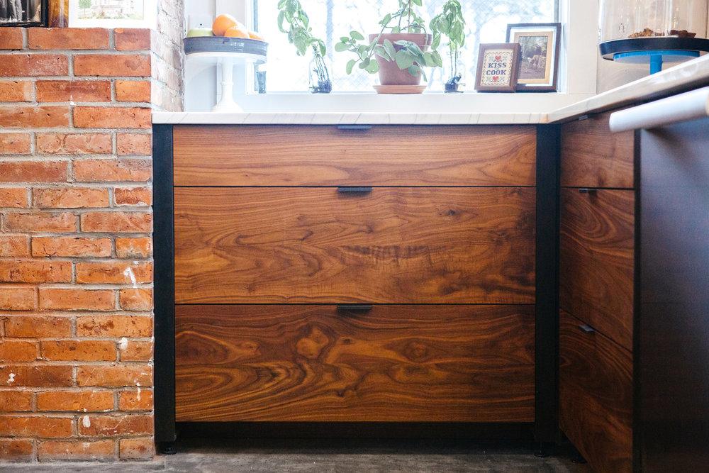 Walnut drawers with custom steel hardware