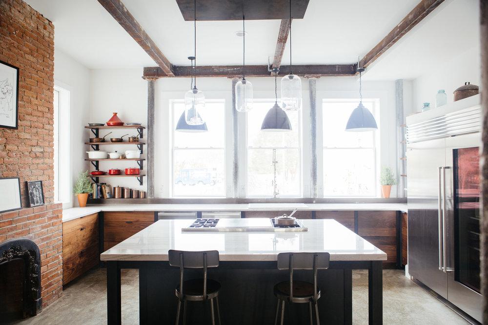 Custom walnut and steel kitchen