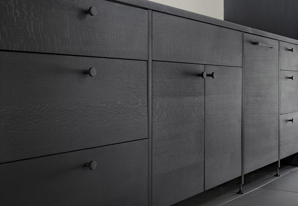custom kitchen cabinetry in ebonized oak