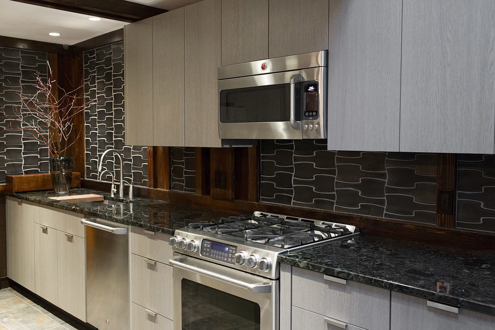 Custom kitchen cabinetry in grey oak Shinoki