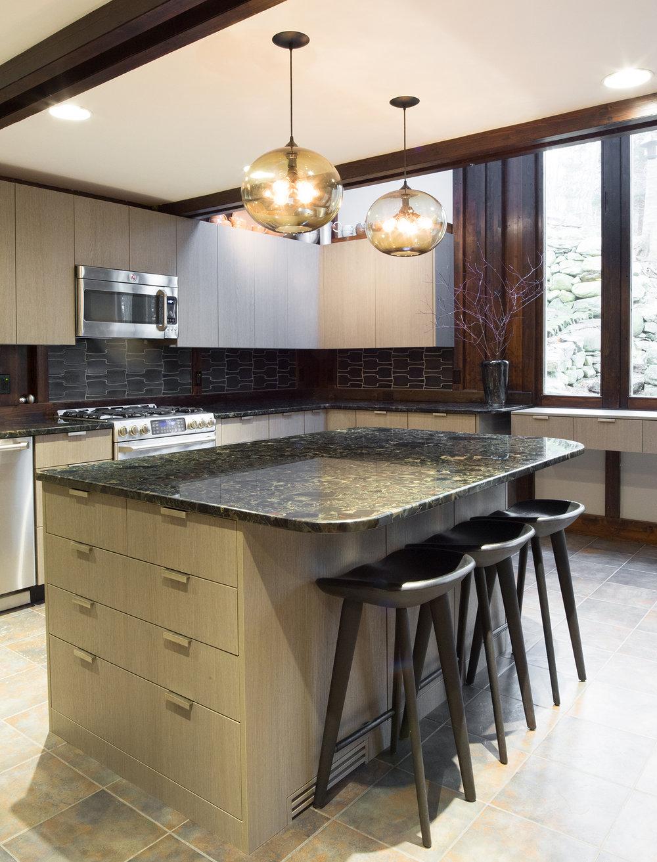 Custom kitchen island cabinetry in grey oak Shinoki