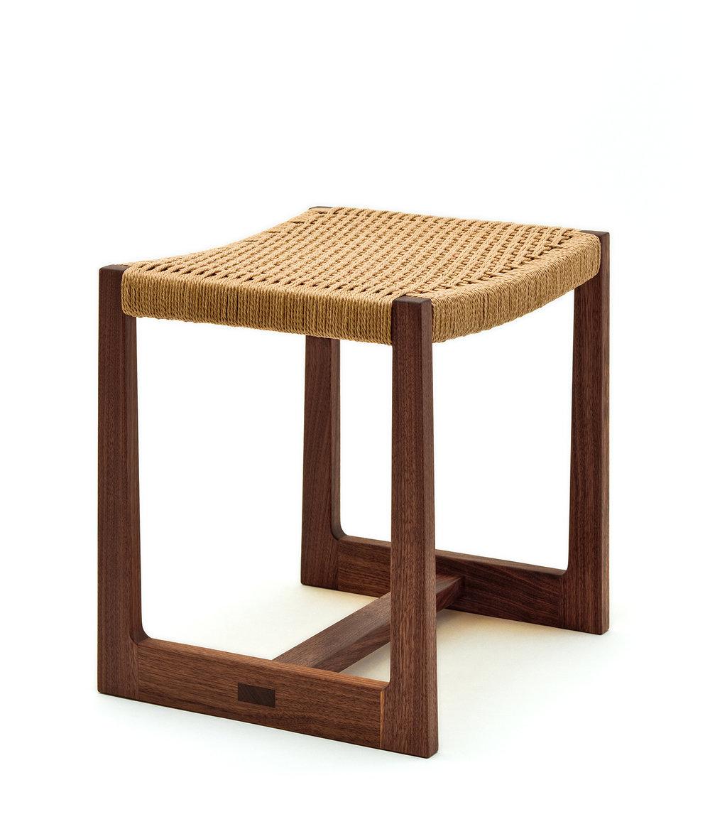 Low Matteawan stool in walnut and natural Danish cord