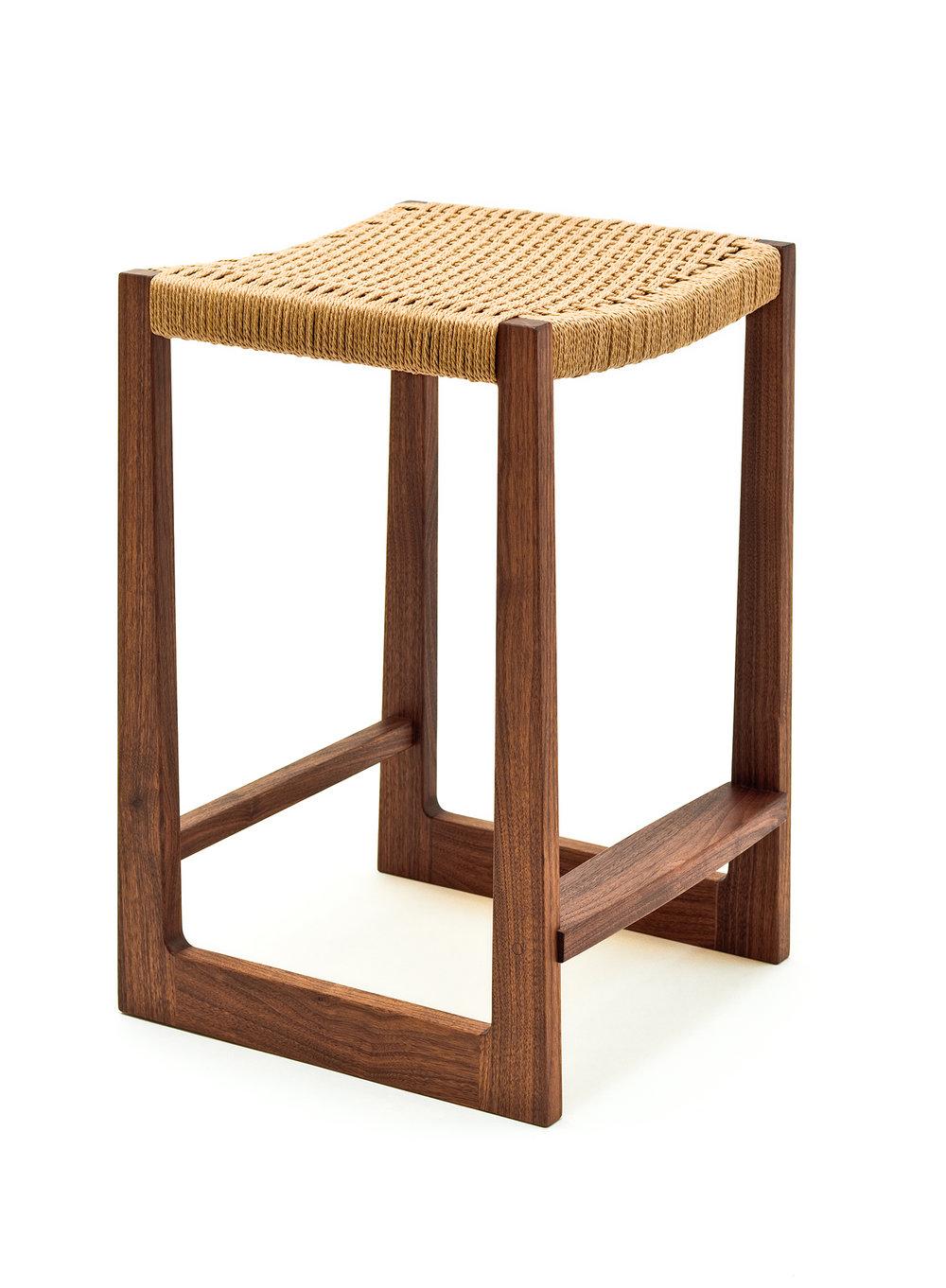 Tall Matteawan stool in walnut with natural Danish cord