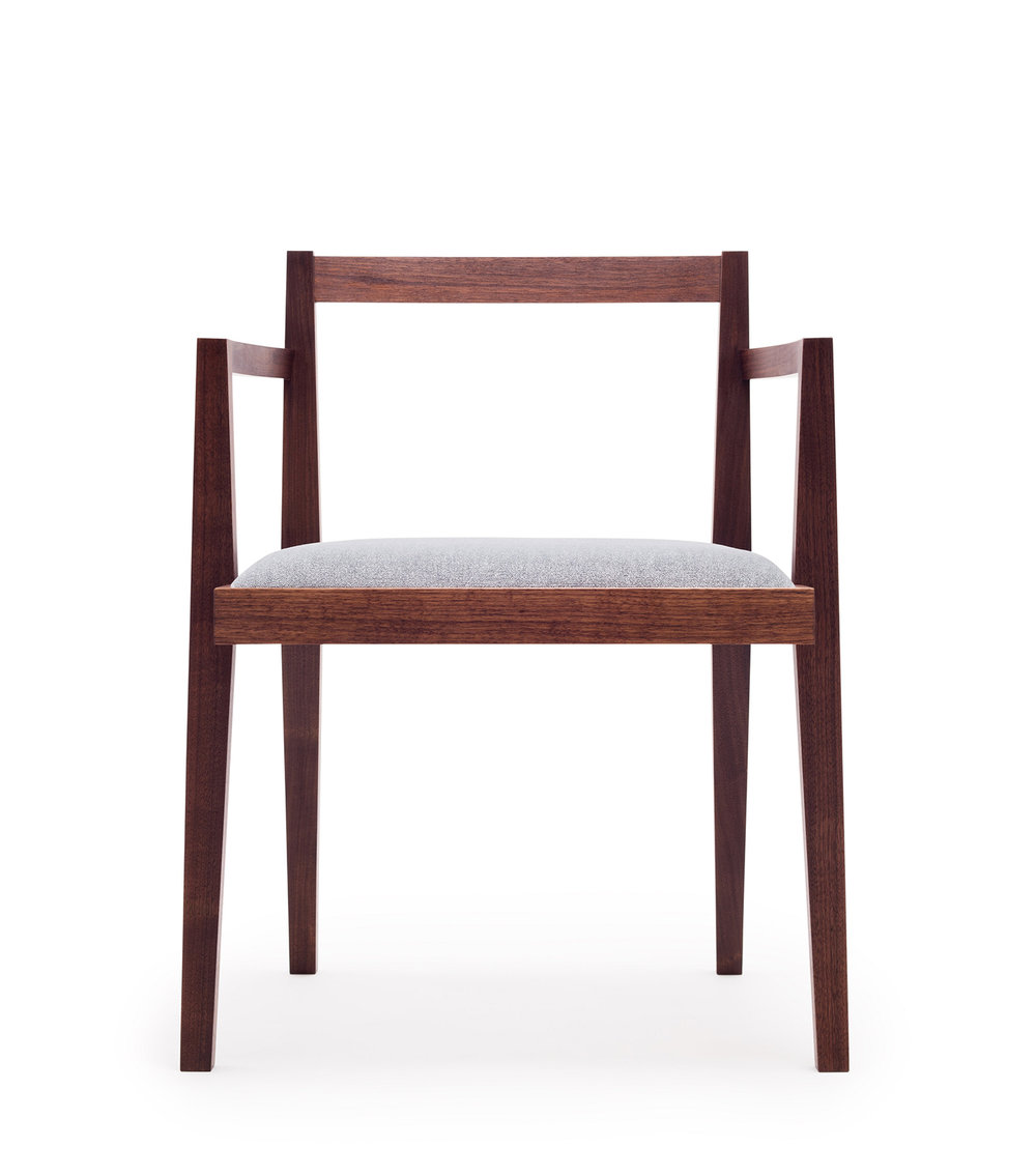 Dylan chair in walnut and velvet