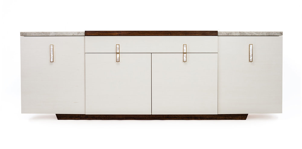 The Park credenza in bleached maple, walnut and quartzite tops, brass and mother of pearl pulls