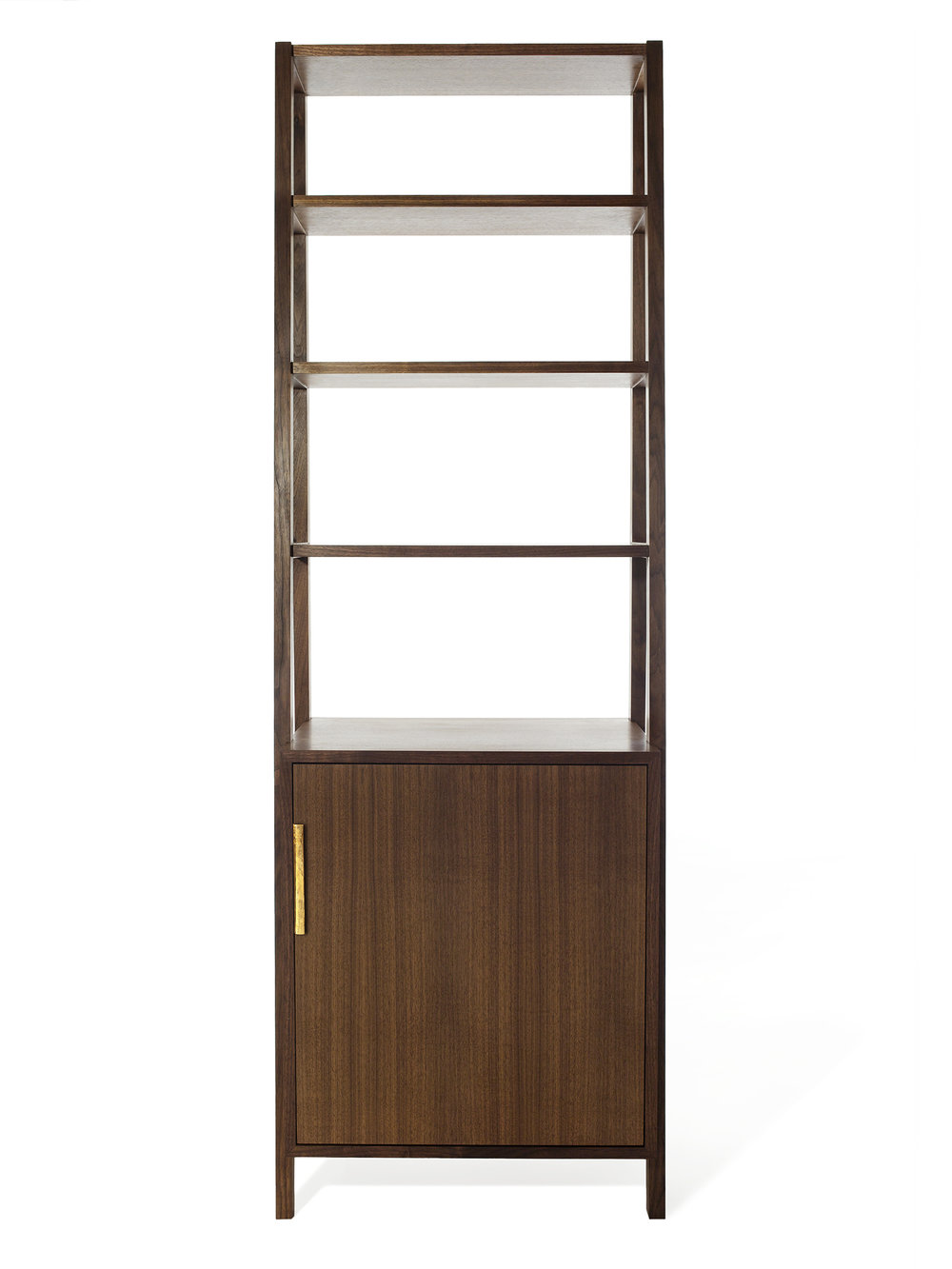 Front view of the Rivers bookcase in walnut