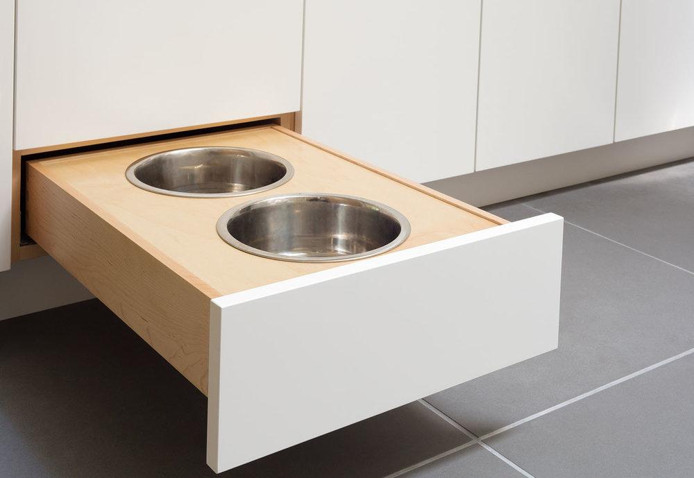 Custom pullout dog bowl