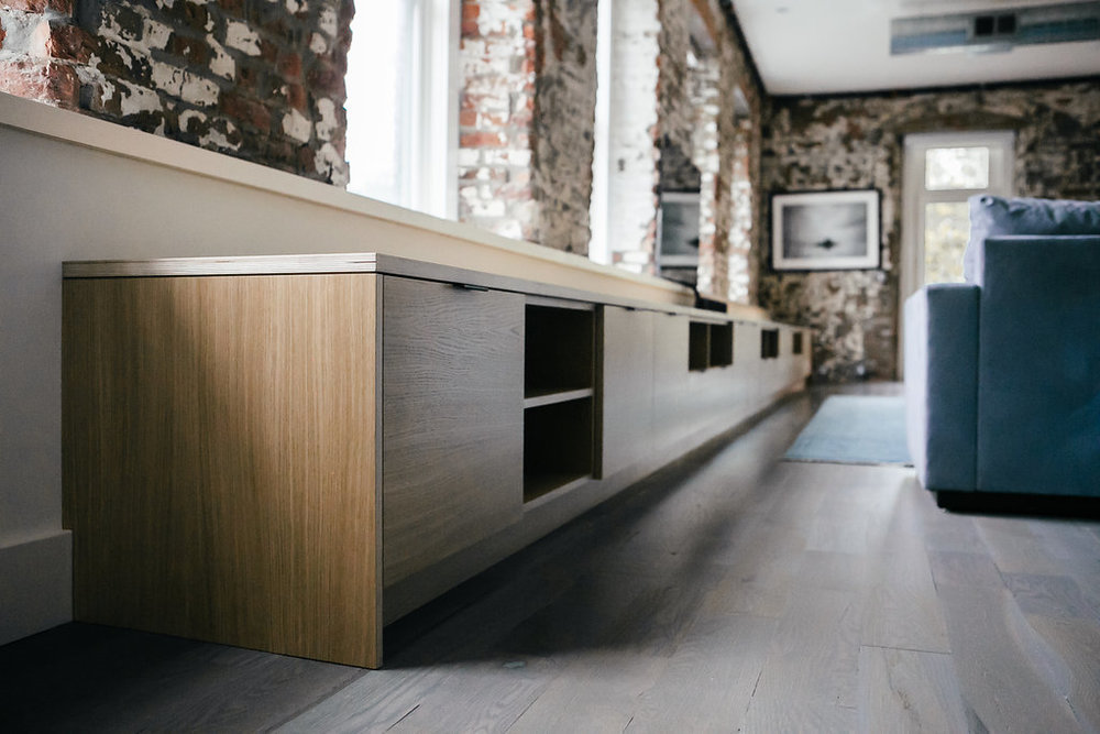 Media storage and bench in white oak Baltic birch plywood